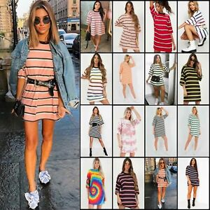 Women-Stripe-Loose-Oversized-Boyfriend-Shift-Dress-Casual-Long-Tops-T-Shirt-Tee