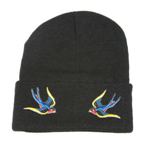 Winter-Knit-Black-Beanie-Cuff-Sparrow-3D-Patch-Embroidery-Black