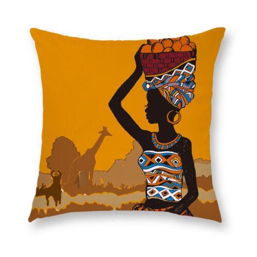"18/"" African Woman Cushion Cover Short plush Pillow Case Sofa Throw Home Decor"