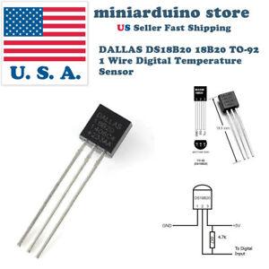 5pcs-DALLAS-DS18B20-18B20-TO-92-1-Wire-Digital-Temperature-Sensor