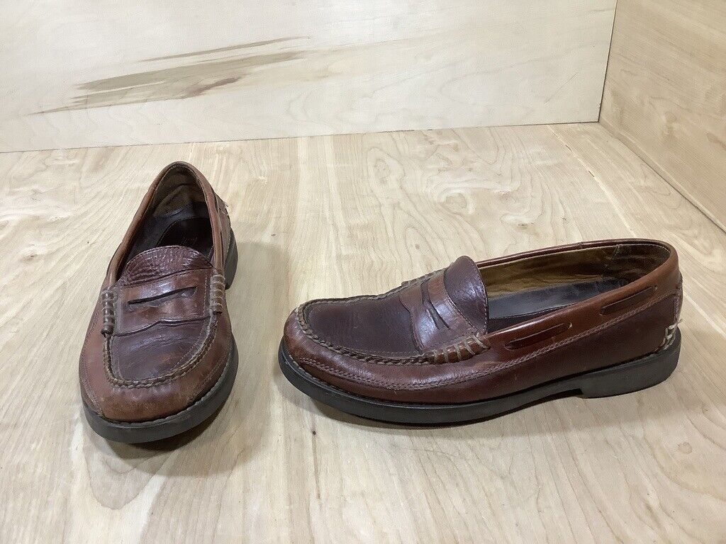 L.L Bean Mens Slip-On Penny Loafers Shoes Pebble Brown Brown Leather Size 9.5 D