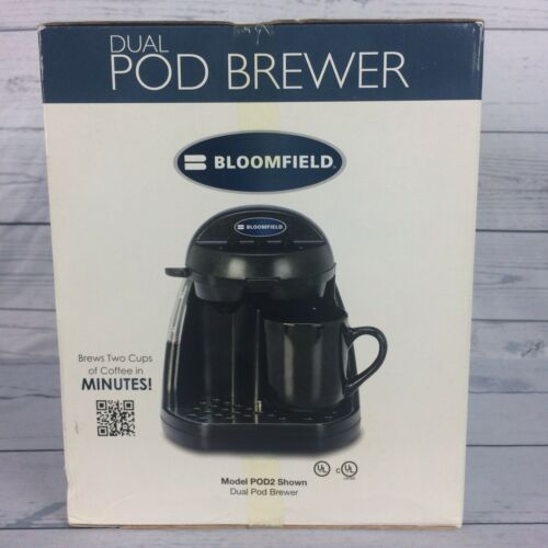 Bloomfield Two Cup Coffee Maker Dual Pod Brewer 4K-POD2  Black New