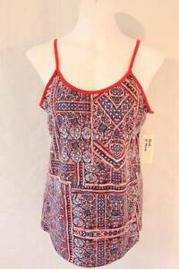 NEW-Womens-Spaghetti-Strap-Tank-Top-Large-Red-Blue-Shirt-Ladies-Cami-Summer-SOFT