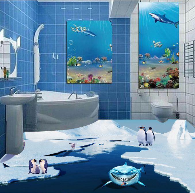 3D Penguin Ice Dolphin Floor WallPaper Murals Wall Print Decal 5D AJ WALLPAPER