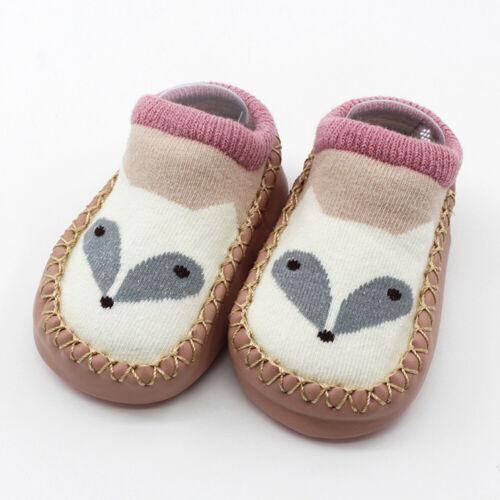 Newborn Baby Shoes Girl/&Boy Cartoon Anti-Slip Socks Slipper Bell Shoes Boots UK