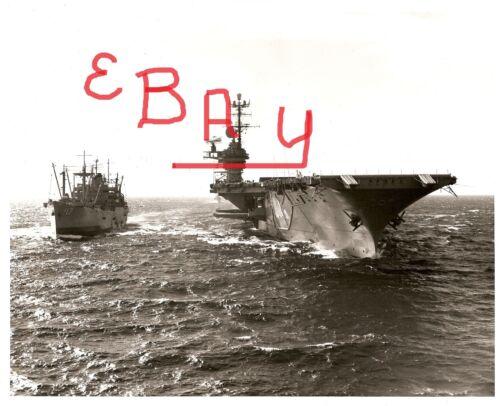 VIETNAM WAR 11X14 PHOTOGRAPH OF USS SARATOGA  CV-60 USS GREAT SITKIN AE-17 LOOK