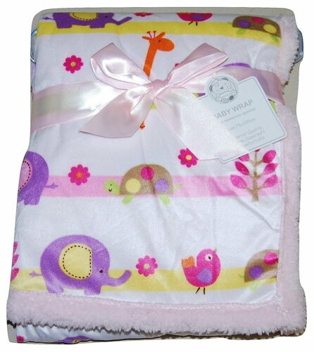 Baby Girl Soft Fleece Wrap Blanket Pram Cot Crib Moses Basket Pink Animal