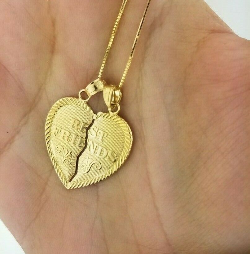14k Yellow gold Best Friends Two Piece Breakable Heart Pendant Charm Set