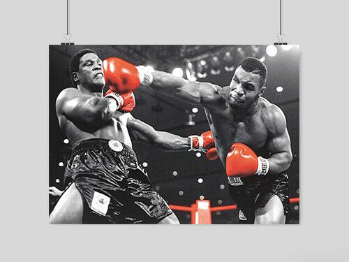 IRON MIKE TYSON BOXING POSTER WALL ART SPORT RED GLOVES  A3 A4 SIZE