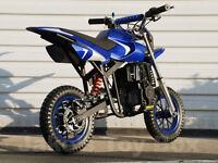 40cc Straight Gas Mini Dirt Bike Pit Bike For Kids - Blue & Silver