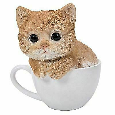 Lifelike Tuxedo Black and White Cat In Teacup Pet Pal Statue With Glass Eyes