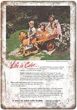 "1941 - Eastman Kodak Kodachrome Color Film - 10"" x 7"" Retro Look Metal Sign"