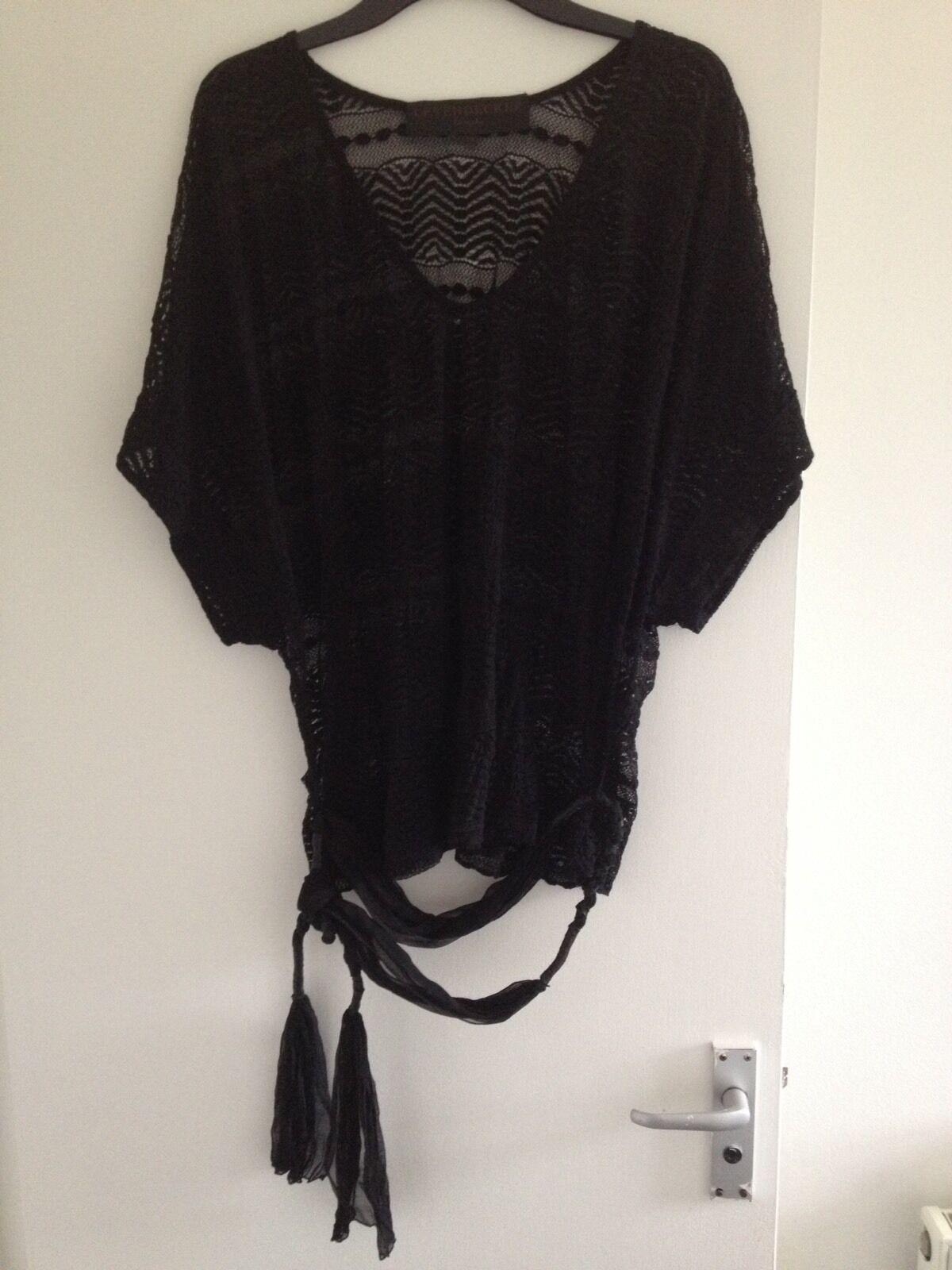 Stunning Ladies Leyendecker Los Angeles schwarz Lace Kimono Top & Tie Belt-Größe 10
