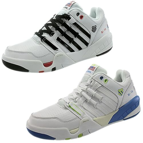K-Swiss SI-18 INTL men/'s sneakers white//black or white//blue snooth leather NEW