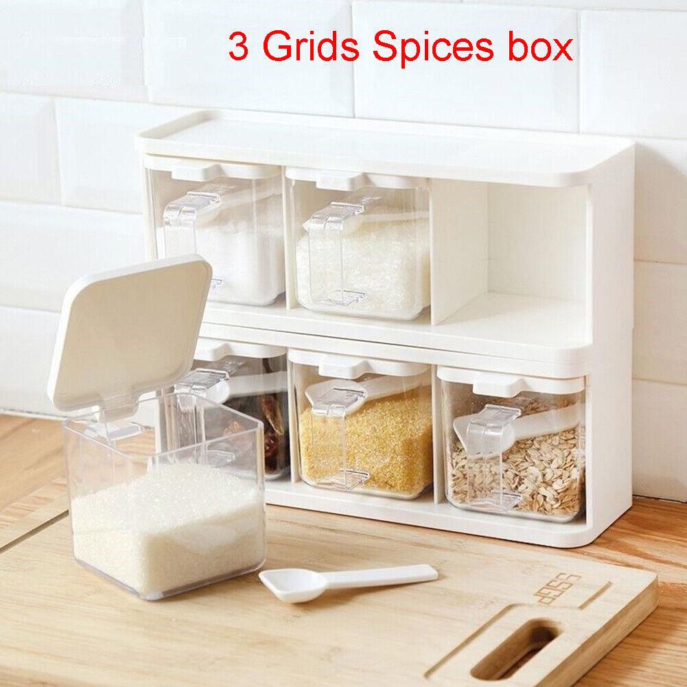 DecentGadget/® Set of 3 Spice Jar////Recipiente para condimentos de cer/ámica Olla con Tapa Bandeja y cucharas de Servir Cocina Az/úcar Sal Pimienta Titular