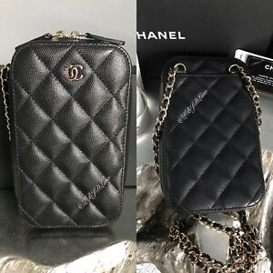 1241750347f9f9 Image is loading NWT-CHANEL-Black-Caviar-Phone-Holder-WOC-Wallet-