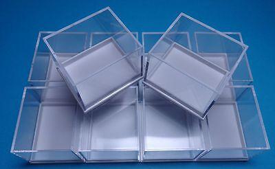 Kästchen 10 Kleinstufen Dosen weiss  41x35x32 mm für Mineralien Sammlung