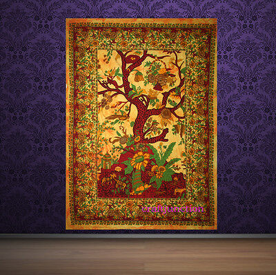 Psychedelic Yellow Tree Of Life Tapestry Wall Hanging Throw Ethnic Tie /& Dye Art