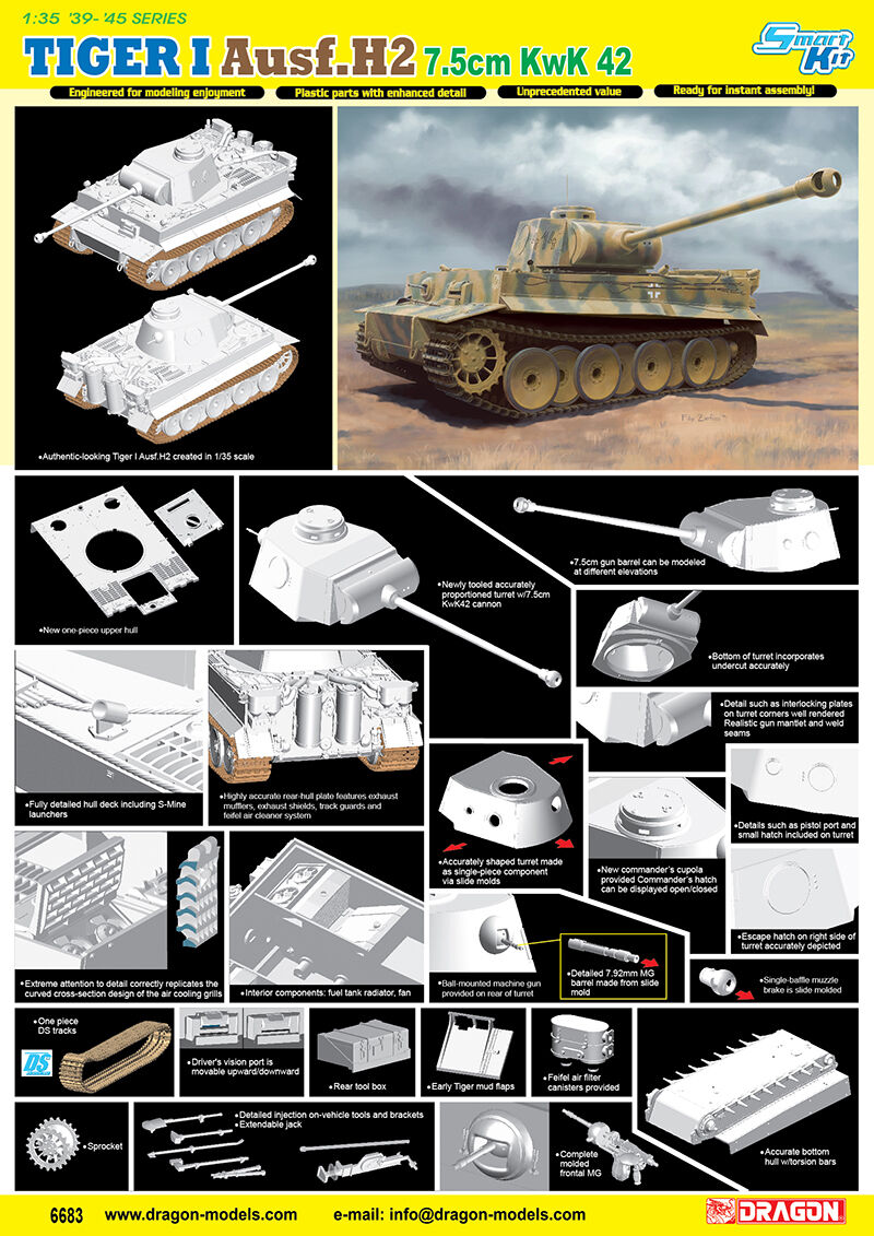 Dragon 1 35 6683 TIGER I Ausf.H2 7.5cm KwK 42 Plastic Model kit