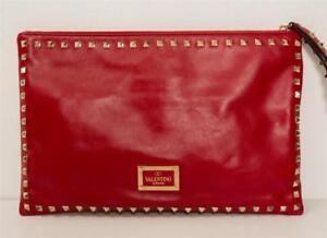 f7a818cea8 Image is loading VALENTINO-GARAVANI-Red-Leather-ROCKSTUD -Large-Flat-Wristlet-