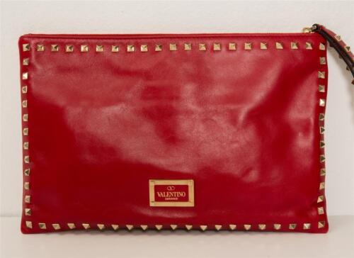À Main Valentino Dragonne Grand Neuf Cuir Sac Garavani Poche Plat Rouge x6R6wS01q