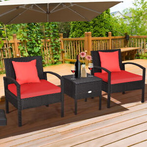 Patiojoy 3PCS Patio Rattan Furniture Set Storage Table Cushioned Red Sofa Deck