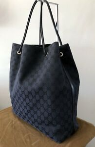 3423cdce24e0 AUTHENTIC GUCCI XL BLACK JACQUARD   LEATHER  GIFFORD  SHOPPER TOTE ...