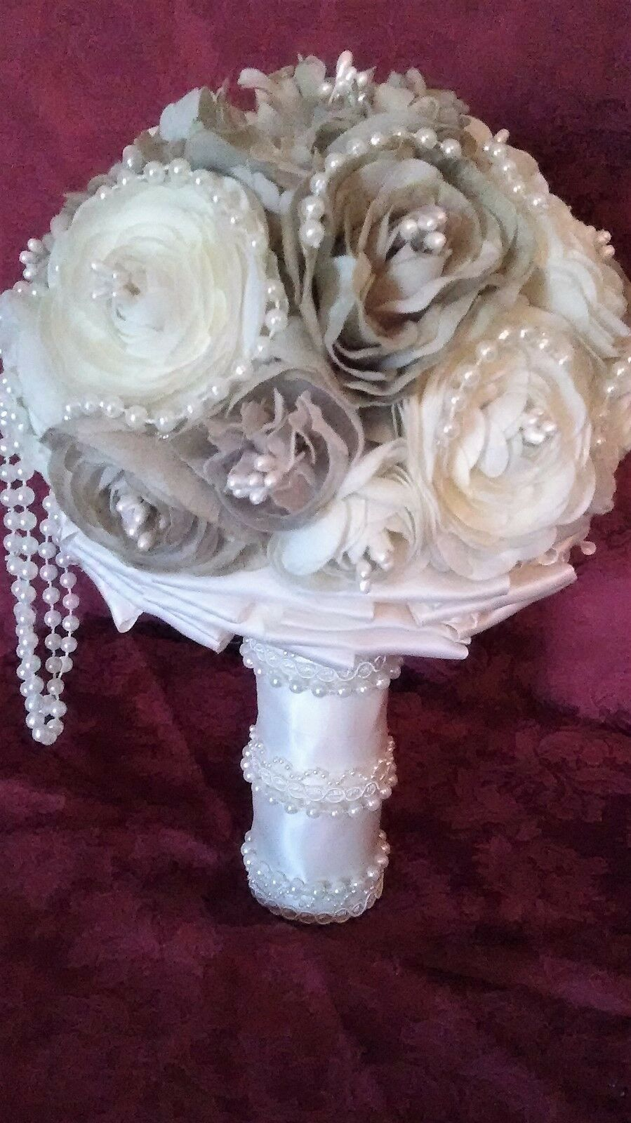 BEAUTIFUL HANDMADE WEDDING BOUQUET-IVORY TAUPE PEARLS LACE