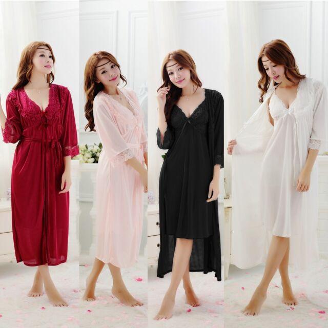 Women Sexy Strappy Two-piece Silk Sleepwear Night Gown Pajamas Long Bath Robes