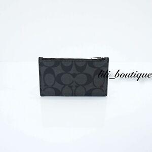 NWT-Coach-F32256-Men-s-Zip-Card-Case-Holder-Wallet-Signature-Charcoal-Black-95