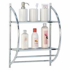 2 Tier Chrome Bathroom Wall Shelf Unit