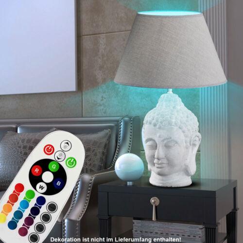 RGB LED Tisch Lampe Wohnraum Keramik BUDDHA Stoff Figur Leuchte FERNBEDIENUNG