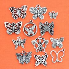 Butterfly Charm Collection 12 Tibetan Silver Tone Charms FREE Shipping E46