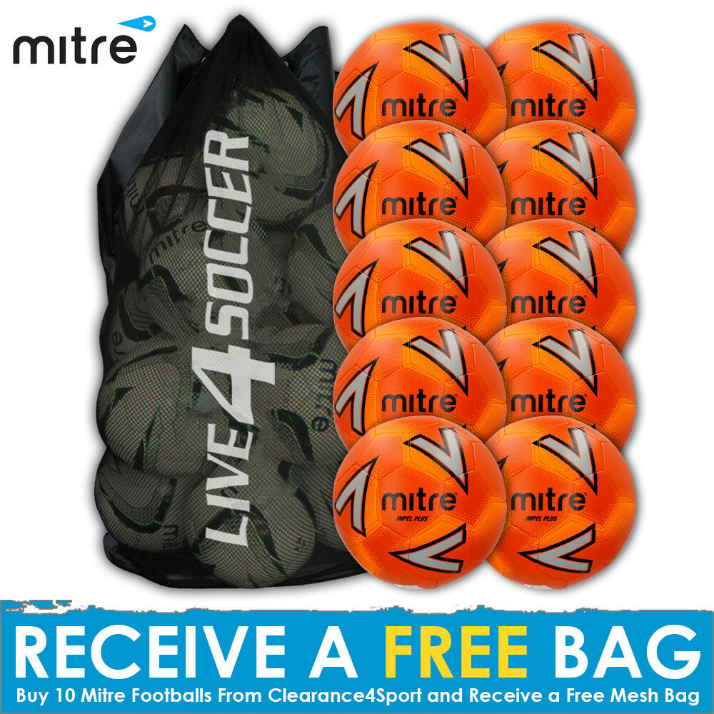 Mitre Impel PLUS 10 New Orange Training Footballs including FREE Mesh Bag - New 10 2018 624830