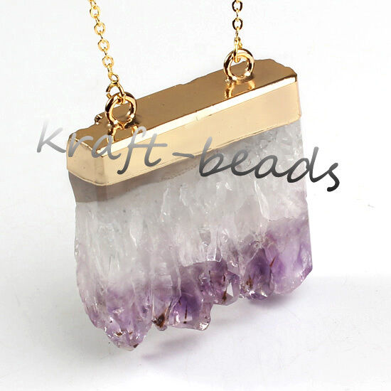 Gold Plated Natural Amethyst Druzy Quartz Crystals Reiki Stone Pendant Necklace