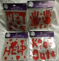 4 Pks Dripping Blood Halloween Gel Cling Window Mirror Decor Help Stay Out Hands