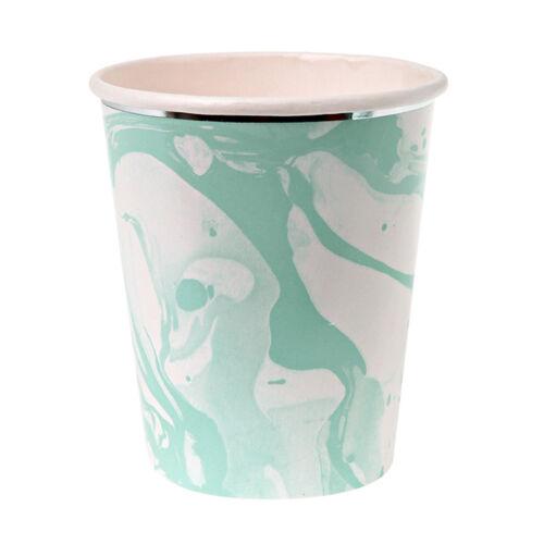 8 X Luxe menthe vert pâle Papier Tasses joli effet marbre style vintage