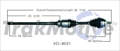 CV Axle Shaft Front Right SurTrack VO-8031