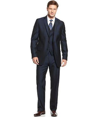 NEW $495 Alfani RED Mens Navy Textured Slim 2PC Suit Blazer 38S Pants 30W 30L