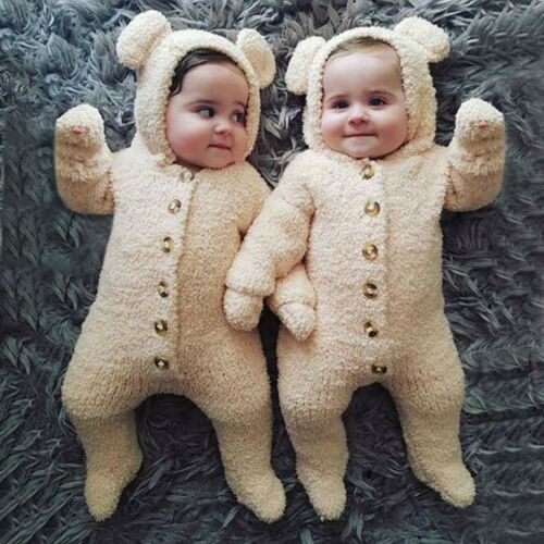 Newborn Baby Boys Girls Fur Hoodie Button Thick Romper Outfit Solid Cute Clothes