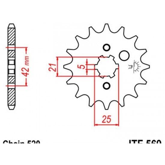 Pignon acier 13 dents jt chaîne 520 yamaha yfm350 warr... Jt sprockets JTF569.13