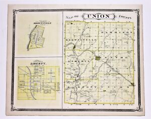 1876 Union County Indiana Map Franklin Liberty Brookville Railroads