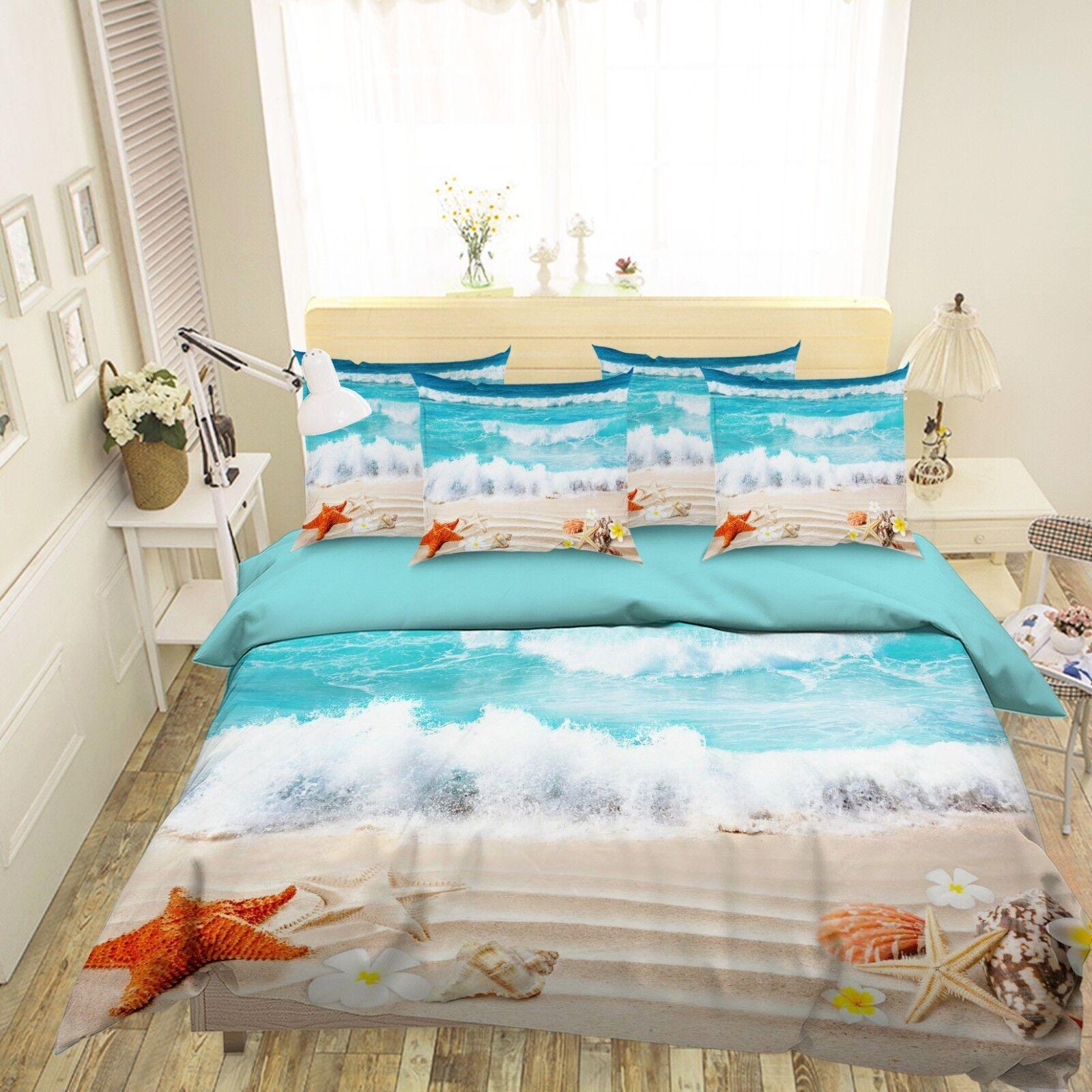 3D Beach Sea Shells99 Bett Pillowcases Quilt Duvet Startseite Set Single Königin König CA