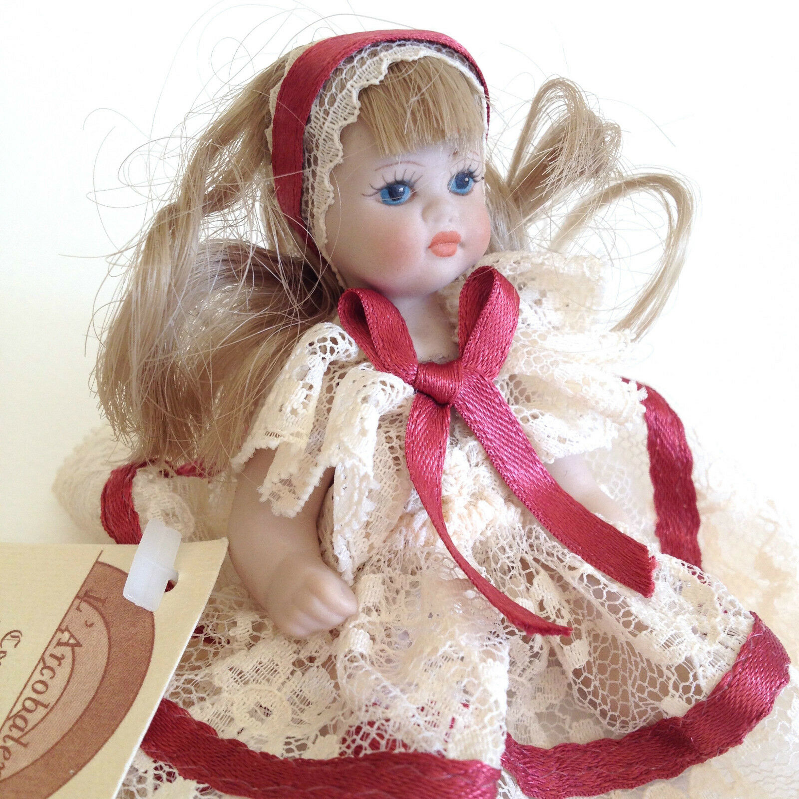 Cutest New VTG Mini Doll Handmade & Painted OOAK Porcelain Bisque Girl 4  ITALY