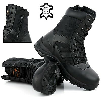 MENS WATERPROOF BLACK STEEL TOE CAP MILITARY COMBAT SAFETY WORK BOOTS SHOES SIZE