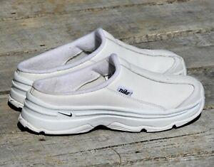 Details about Nike Women\u0027s 7.5 Chunky Heel Shoes Nurse Slipons 304582 White  Leather 08/2006