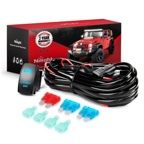 Nilight NI-WA 07 LED Light Bar Wiring Harness Kit 12V On//Off 5 Pin Rocker Switch