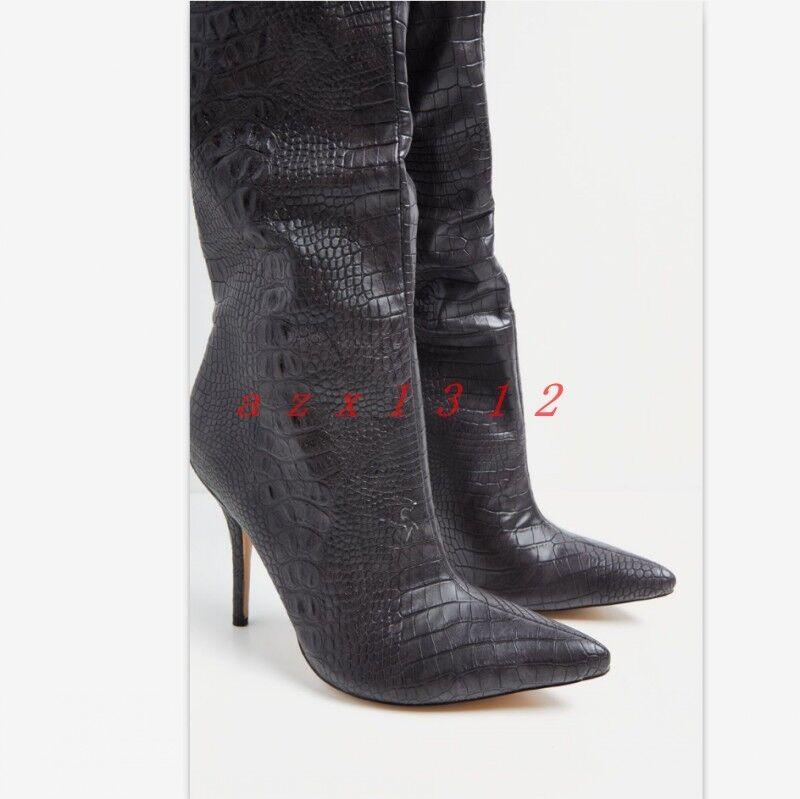 Lady's Stiletto Puntera puntiaguda Sexy Sobre la Rodilla del botas Zapatos 2019 discoteca de alto del Rodilla muslo f59fc7