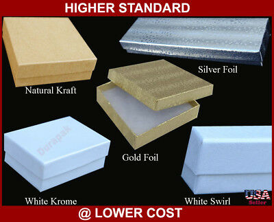 """Details about  /Lot 10 White Swirl Jewelry Boxes 3 3//4×5 1//4/""""×1/"""" Cardboard w Polyester Fiber Pad"""