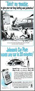 1952 Hillbilly comic art Johnson's car plate auto wax vintage Print Ad adL35